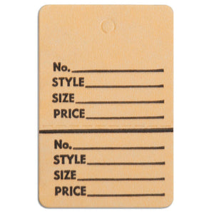 "Merchandise Tag without String - 1-1/2"" x 1-3/4"" - Buff"