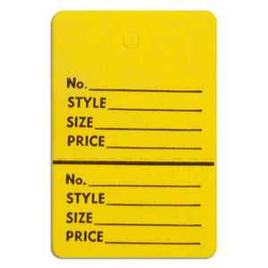 "Merchandise Tag without String - 1-1/2"" x 1-3/4"" - Yellow"
