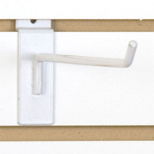 "Slatwall Hook 10"" - White - 100/Carton"