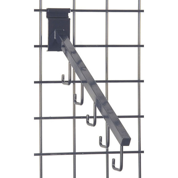 Square 5-Hook Gridwall Waterfall - Black