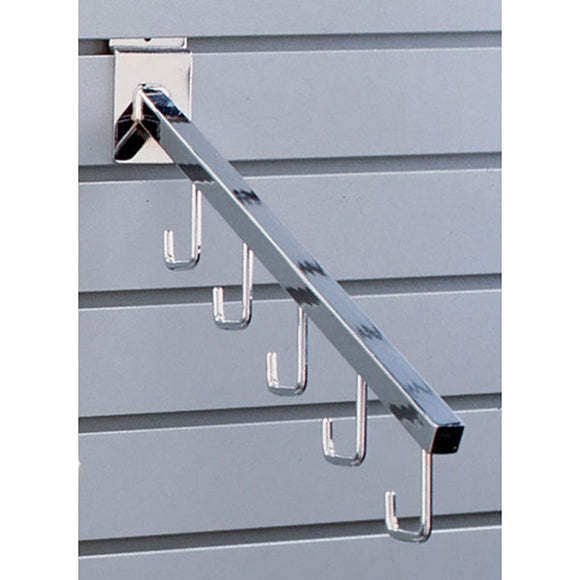 Square 5-Hook Slatwall Waterfall - Chrome