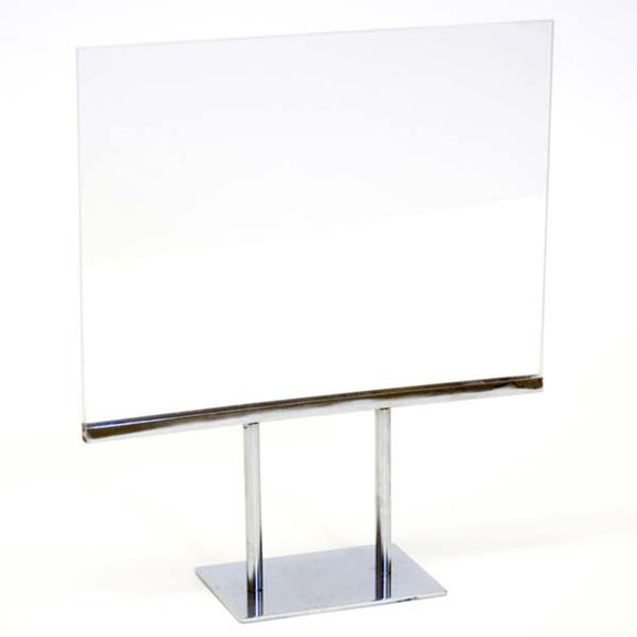 Twin Stem Countertop Sign Holder - Acrylic Frame - Horizontal - 11