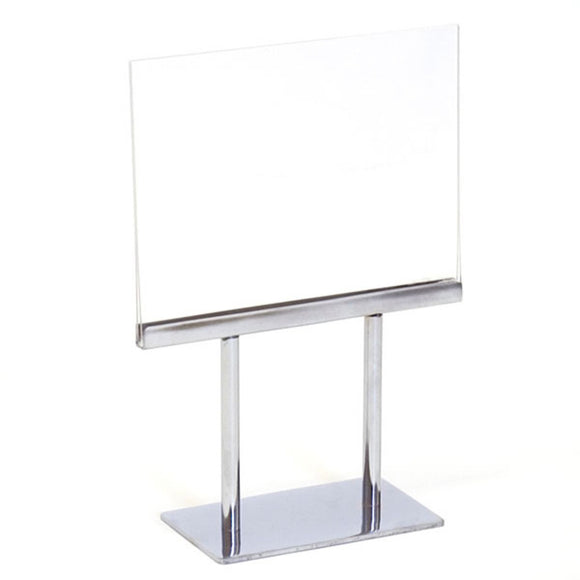 Twin Stem Countertop Sign Holder - Acrylic Frame - Horizontal - 7