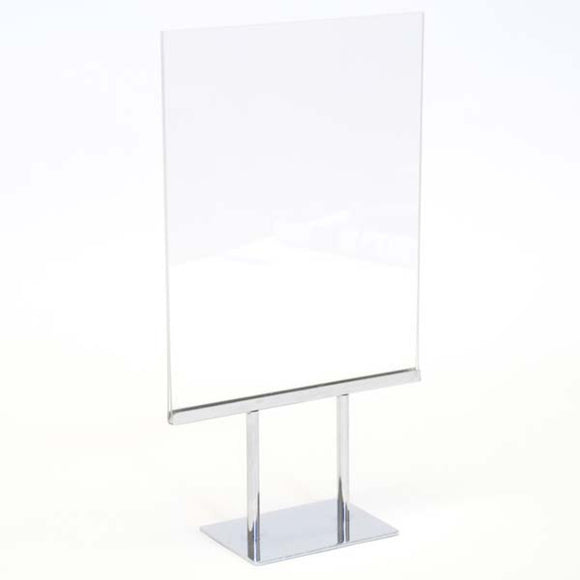 Twin Stem Countertop Sign Holder - Acrylic Frame - Vertical- 8-1/2