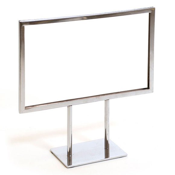Twin Stem Countertop Sign Holder - Chrome Frame - Horizontal - 11
