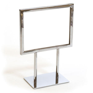 "Twin Stem Countertop Sign Holder - Chrome Frame - Horizontal - 7"" x 5-1/2"""