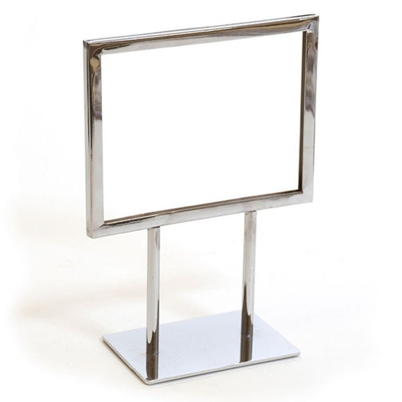 Twin Stem Countertop Sign Holder - Chrome Frame - Horizontal - 7