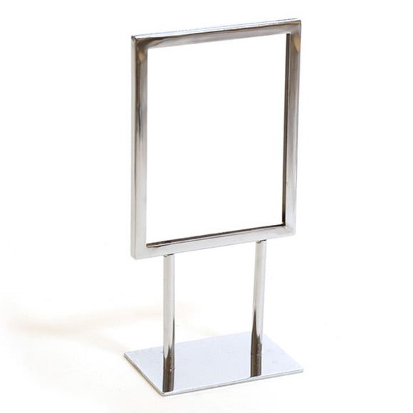 Twin Stem Countertop Sign Holder - Chrome Frame - Vertical - 5-1/2