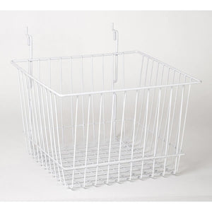 "Wire Basket - Universal Bracket - 12"" x 12"" x 8"" - White"