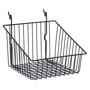 "Wire Basket - Universal Bracket - 12"" x 12"" x 8"" - Sloping - Black"