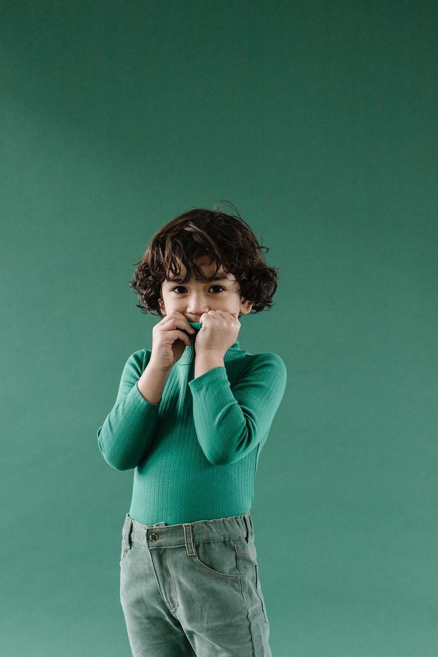 Fin & Vince Ribbed Turtleneck - Emerald