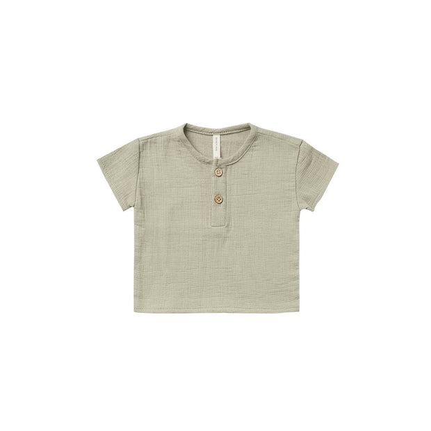Quincy Mae Woven Henry Top - Sage