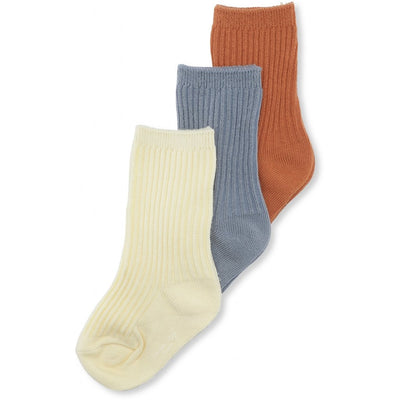 Konges 3 Pack Rib Socks - Biscuit/Blue/Lemon