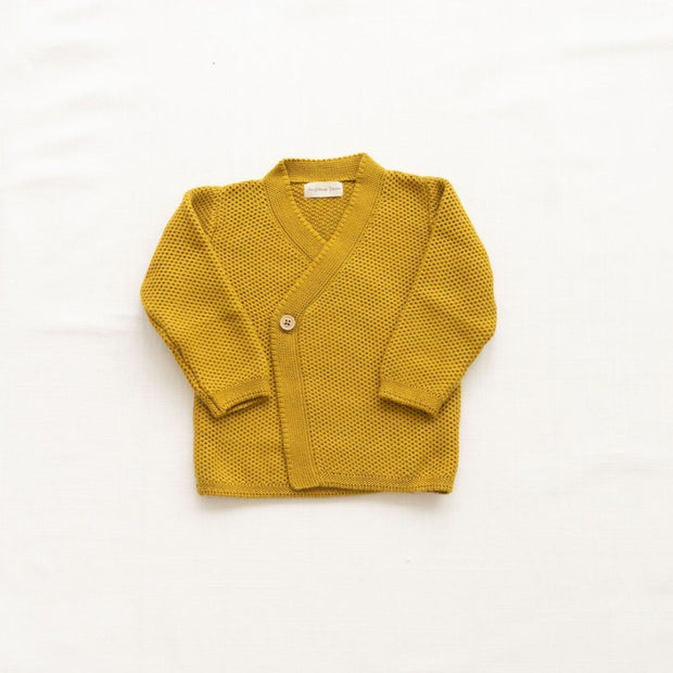 Knitted Wrap Cardigan - Charteuse