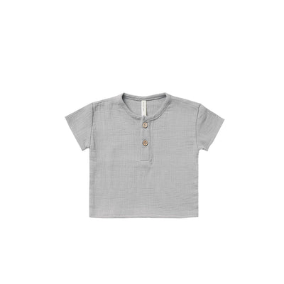 Quincy Mae Woven Henry Top - Periwinkle