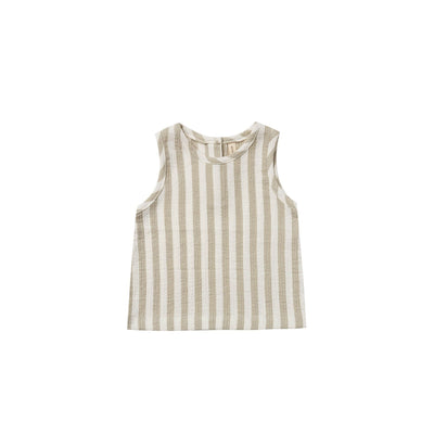 Quincy Mae Woven Tank - Sage Stripe
