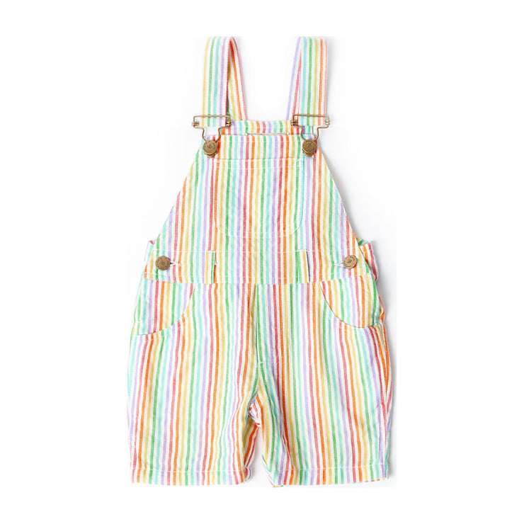 Rainbow Seersucker Overall Shorts
