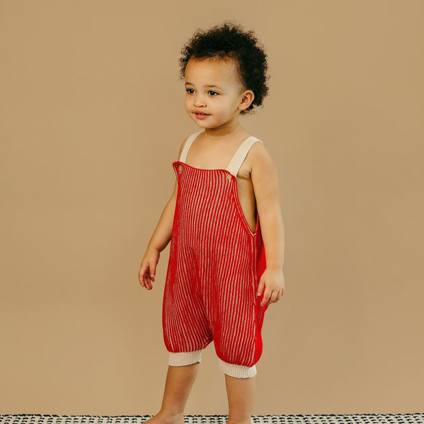 Beautiful 2-year-old girl wears red knit romper in Asheville, North Carolina.