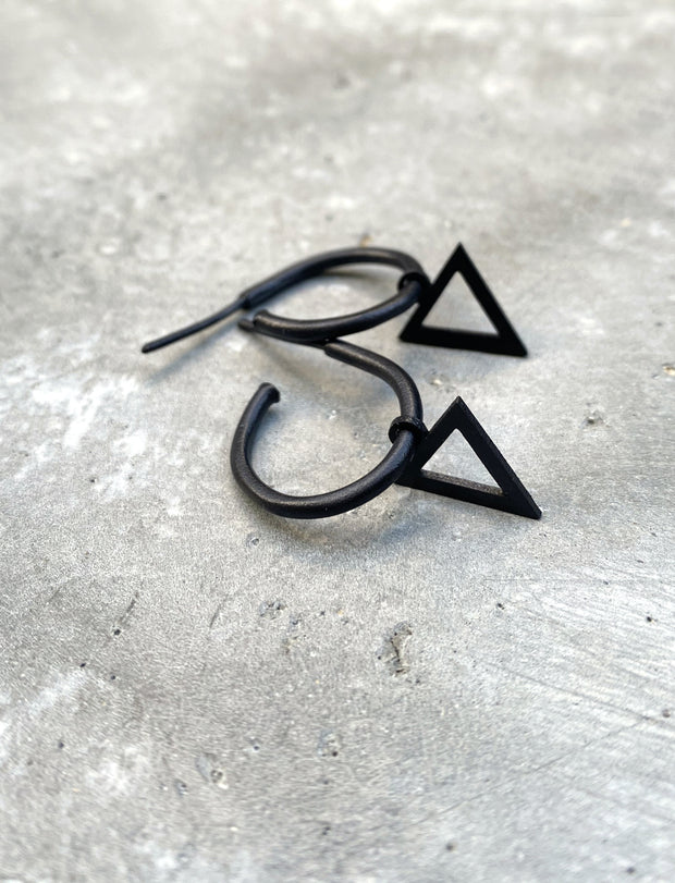 "Hoop earrings with ""Hollow triangle"" pendant"