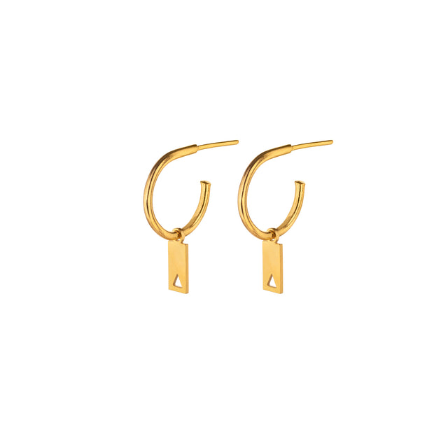 "Hoop earrings with ""rectangle pendant with a hollow triangle"""