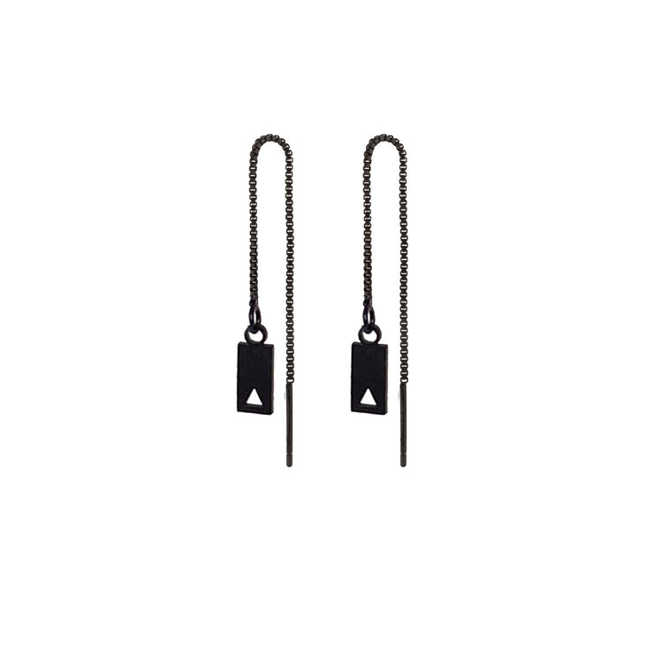 Chain earrings rectangle pendant with a hollow triangular