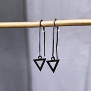 Chain earrings with hollow triangle pendant