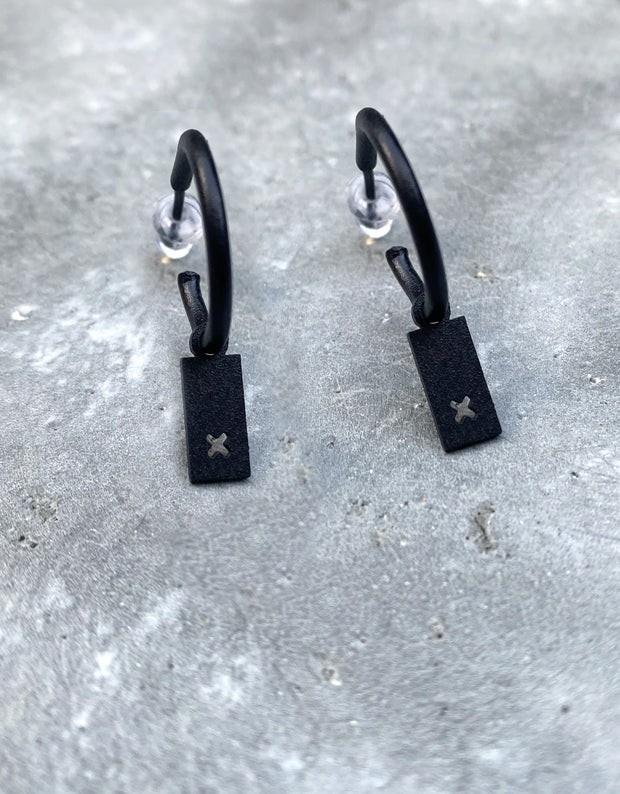 "Hoop earrings with ""rectangle pendant with a hollow X"""