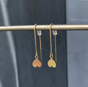 Chain earrings with heart pendant