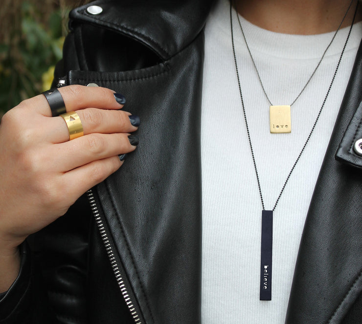 "RECTANGLE ""BELIEVE"" NECKLACE (LONG)"