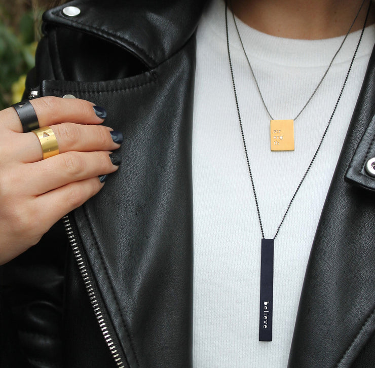 "RECTANGLE ""IMAGINE"" NECKLACE (LONG)"