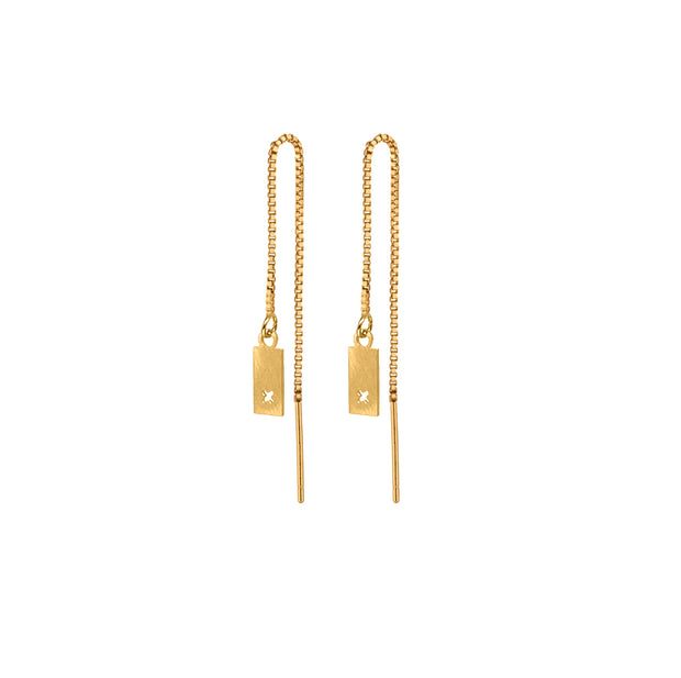 Chain earrings rectangle pendant with a hollow X