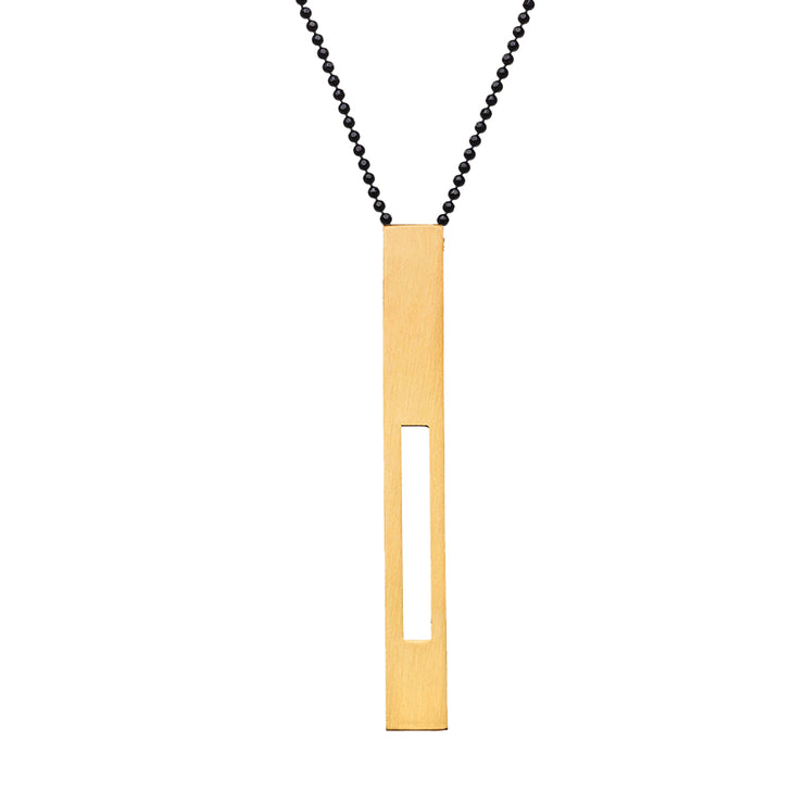 "RECTANGLE ""SEMI HOLLOW""  NECKLACE (LONG)"