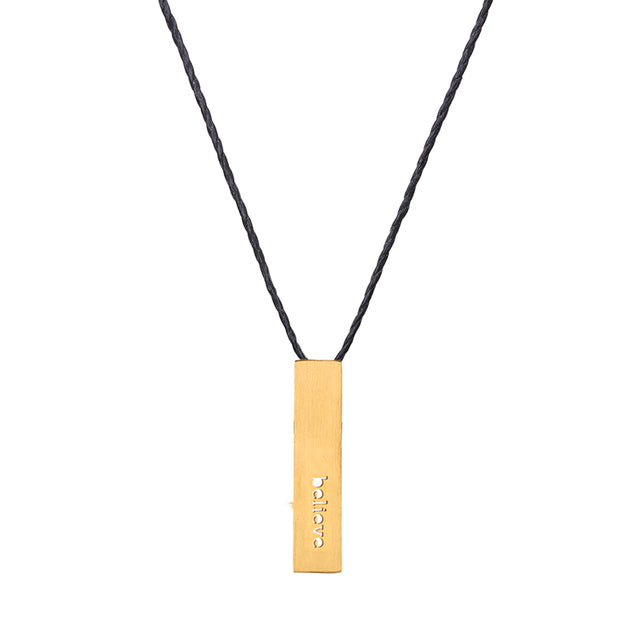 "RECTANGLE ""BELIEVE"" NECKLACE (SHORT)"
