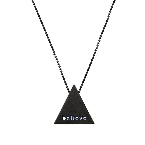 "TRIANGULAR ""BELIEVE"" NECKLACE"