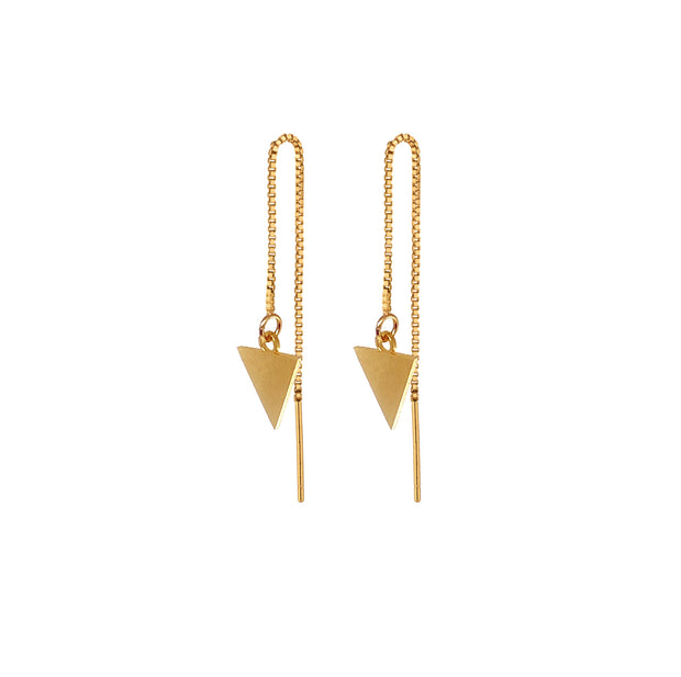 Chain earrings with triangle pendant