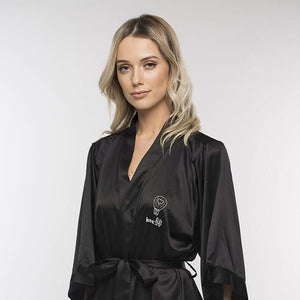Love Lift Kimono Silk Robe Black Medium