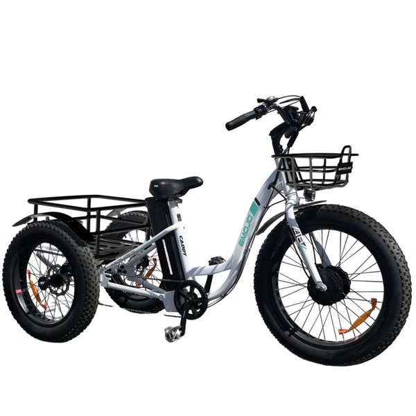 The Emojo Caddy White Tricycle Commuter Electric Bike - My E-commerce Center