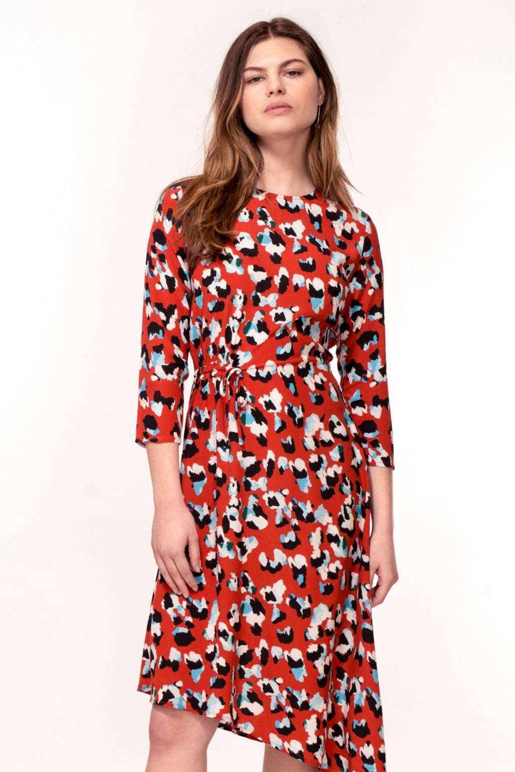 Azalea Hem Dress - Red Animal Print