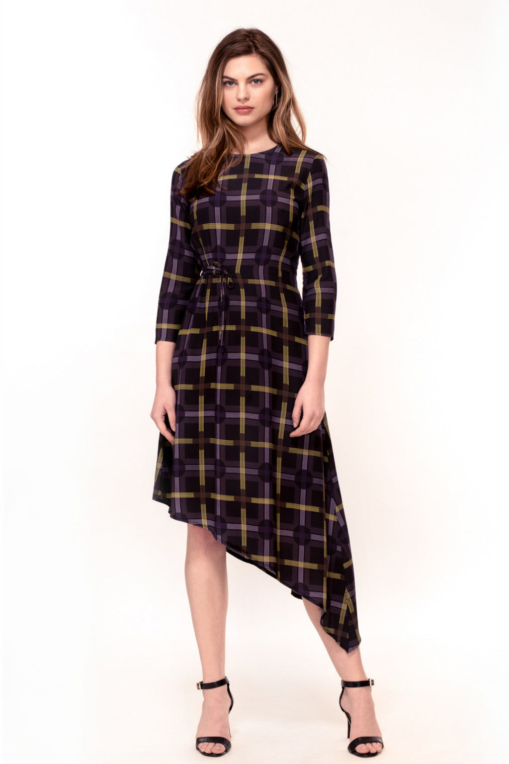 Azalea Hem Dress - Spot Plaid Print