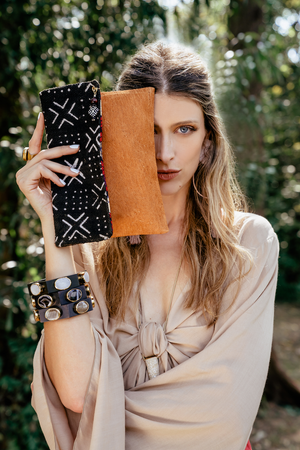 Black Mud Cloth Clutch