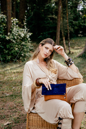 Your stylish companion. The Indigo Blue Clutch Bag -Sustainable Clutch Bag made from Malian Cotton Mud Cloth and Banana Bark