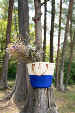 Two-Tone bag made from sustainable materials - Sisal, Recycled Wool and Leather. In Blue & White.