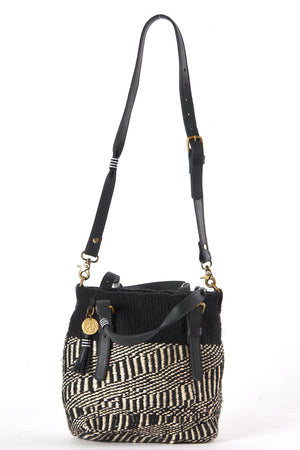 Black Safari Bags made form sustainable materials - Sisal, Recycled Wool, Leather and Maasai beads