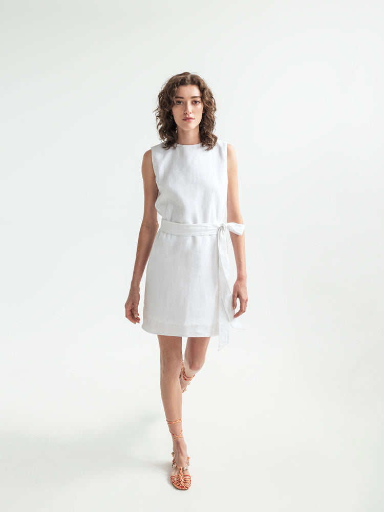 Sleeveless linen shift dress. Made ethically by refugees in Greece. French/Belgium Linen. Greek cotton lining.