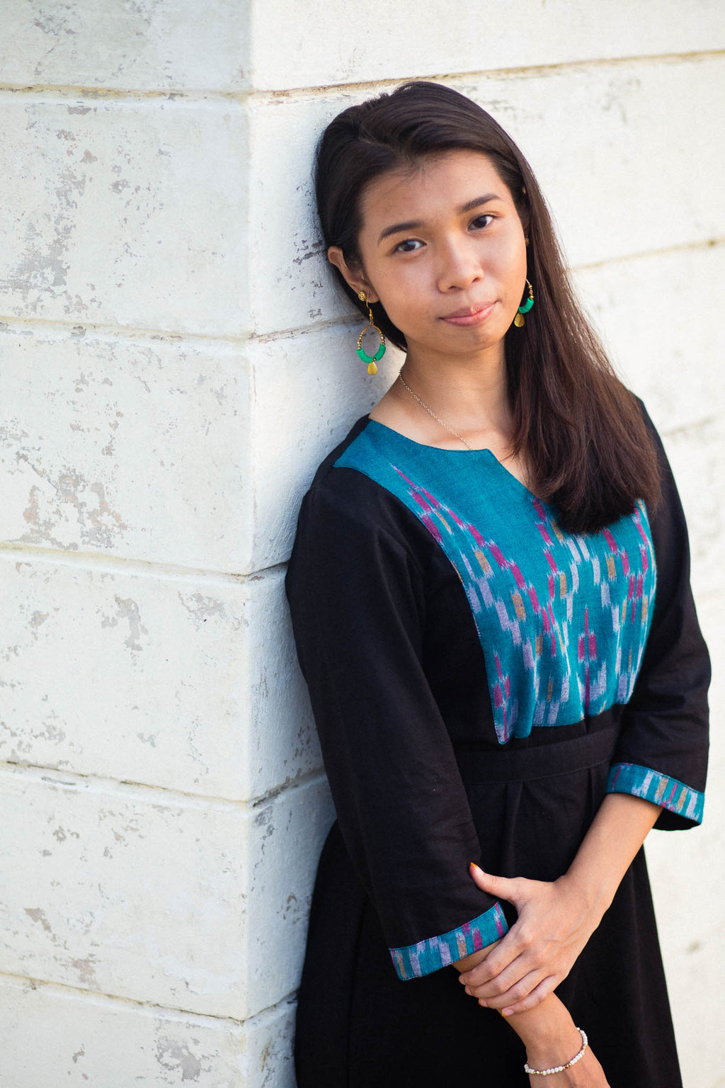 Black Jewel Dress. A Batik Dress in Emerald and Black. Made by artisans.