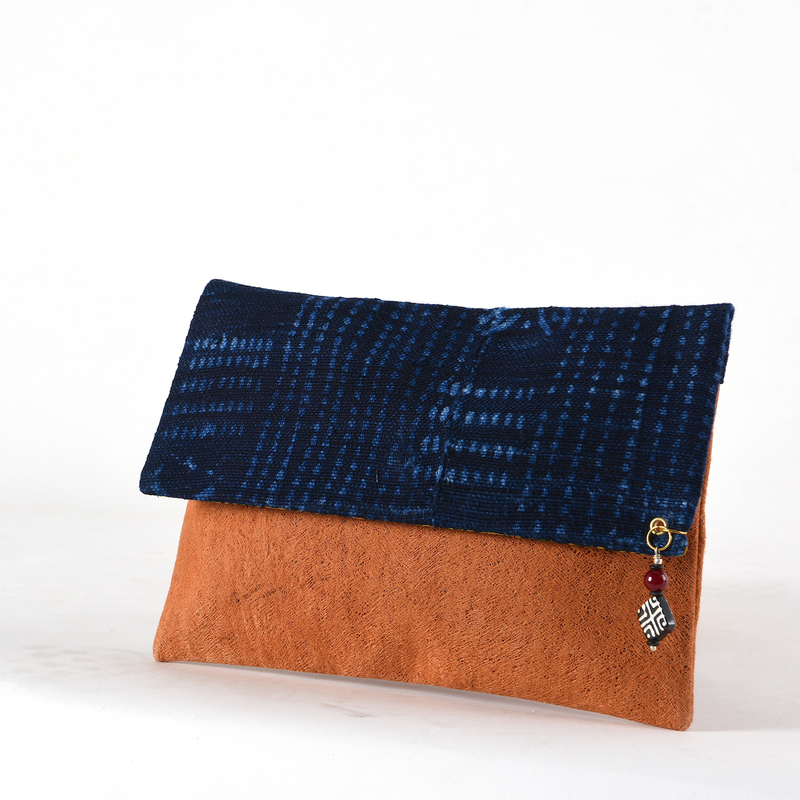 Indigo Blue Clutch Bag -Sustainable Clutch Bag made from Malian Cotton Mud Cloth and Banana Bark