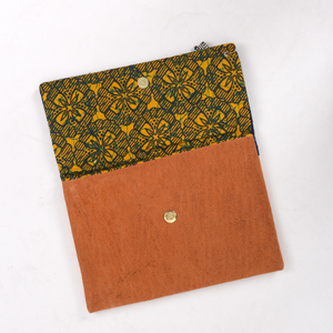Inside of the Indigo Blue Clutch Bag -Sustainable Clutch Bag made from Malian Cotton Mud Cloth and Banana Bark
