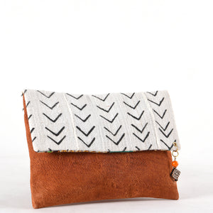 Sustainable Clutch Bag in White. Made from Malian Cotton Mud Cloth and Banana Bark