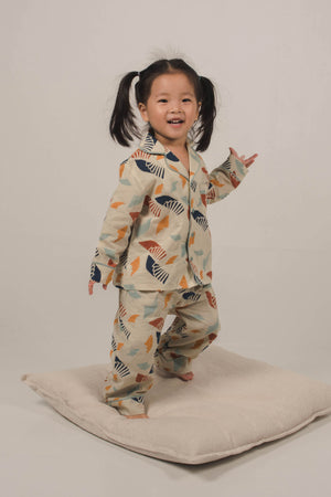 Moki Kids PJ Set in Spiral Sky