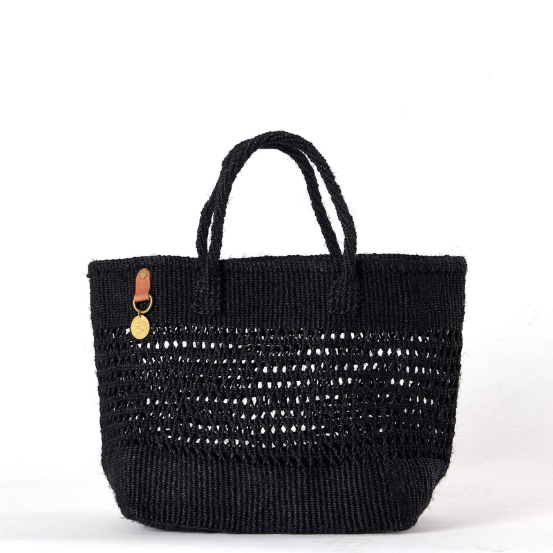 Handwoven Plaited Tote Bag in Black. Made from Sisal, a sustainable natural material.